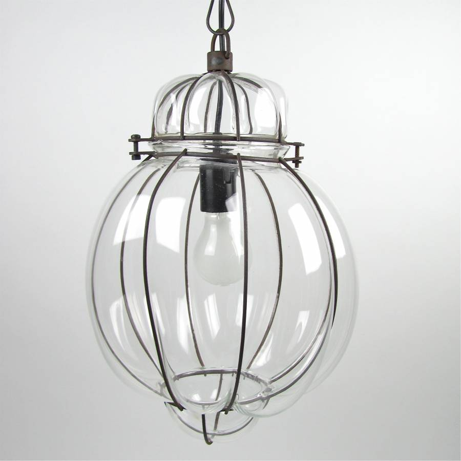 Hanging lamp metal wire and glass B
