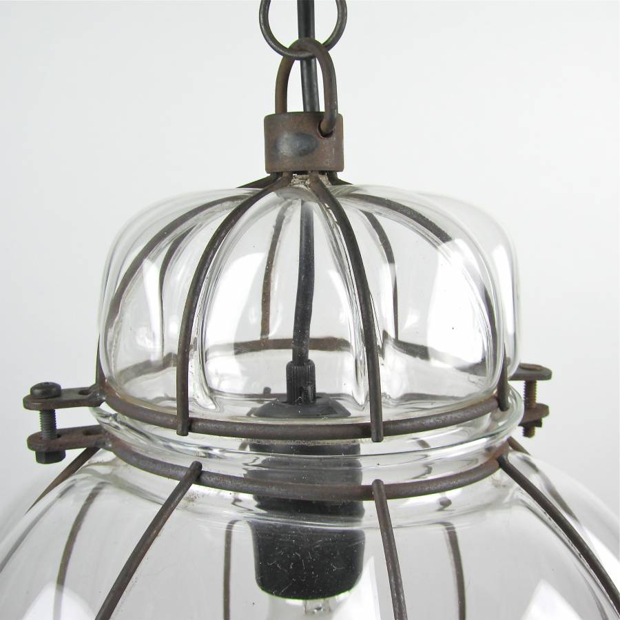 Hanging lamp metal wire and glass C