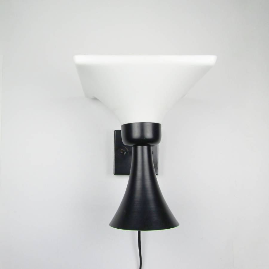 Seventies black and white wall lamp