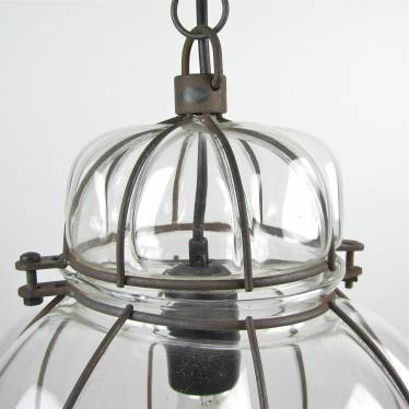 Hanging lamp metal wire and glass small detail C