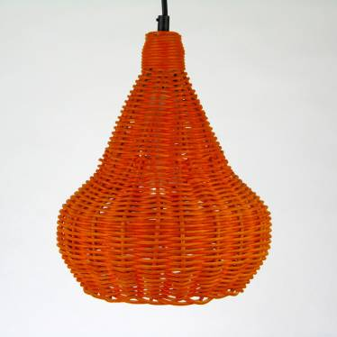 Orange wicker pendant lamp
